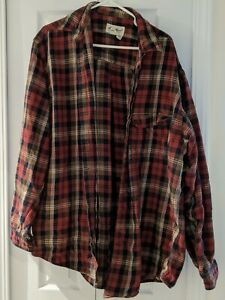 Eddie-Bauer-Button-Down-Flannel-Plaid-Long-Sleeve-Red-White-Men-039-s-Shirt-Sz-L