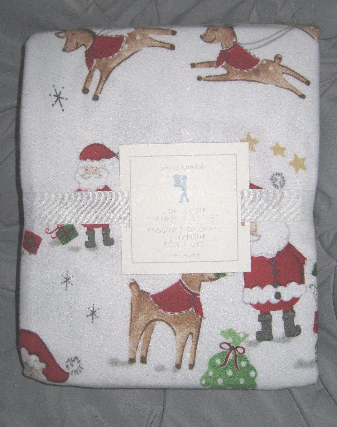 Neuf avec étiquettes POTTERY BARN Kids North Pole Santa en flanelle Twin Sheet Set vacances