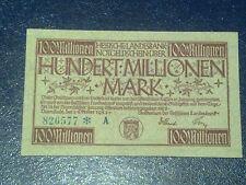 GERMANY - 100 MILLION MARK  BANKNOTE 1923- DARMSTADT-INFLATION - VERY FINE