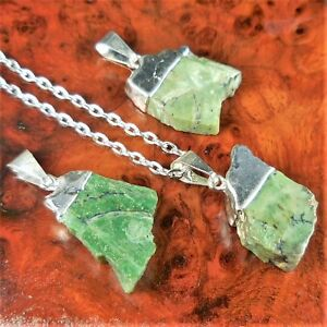 Serpentinite-Necklace-Green-Serpentine-Pendant-B59-Raw-Healing-Crystals-Stones