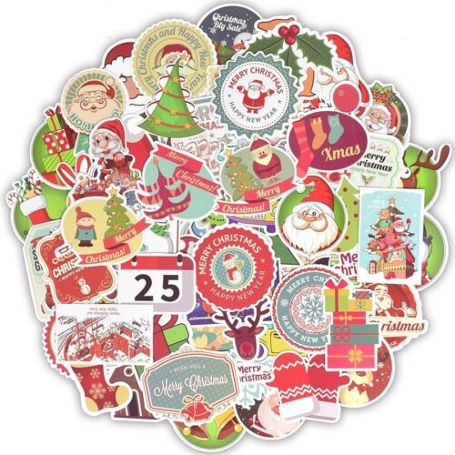 100 Christmas Stickers Pack Lot Bomb Holiday Santa Merry Reindeer Decals Laptop