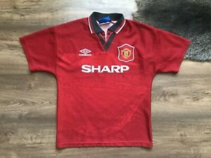 detailing c98b2 26ffc Details about VINTAGE MANCHESTER UNITED 1994/1995 HOME FOOTBALL SHIRT  JERSEY MAGLIA UMBRO