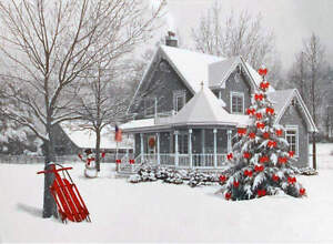 Snowy Christmas.Details About Winter Snowy Christmas House White With Red Accents