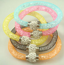 Wholesale Lot of 2pcs Mesh Magnetic Crystal Material Stardust Bangle Bracelet 9o