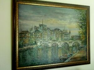 36-034-x-48-034-Original-Oil-Painting-European-Canal-Scene-Unsigned-framed