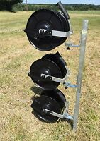 Electric Fence Reel Kit - Mounting Post 3 X Geared Fencing Reels With Brackets