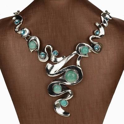 Genuine Turquoise Diamante Gem Rhinestone Bib Collar Statement Pendant Necklace