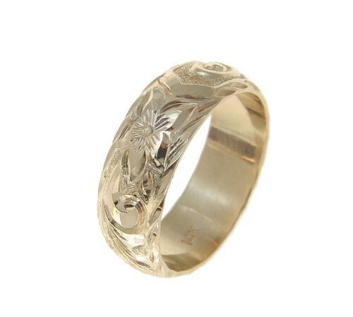 14K Or Jaune custom made Hawaiian Plumeria Scroll Ring soulevé lettre 6 mm