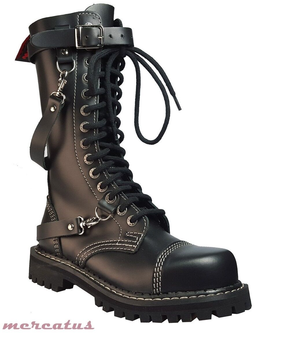 ANGRY ITCH - 14-Loch Gothic Punk Army Ranger Armee Armee Armee Leder Stiefel mit Stahlkappe c16fc0