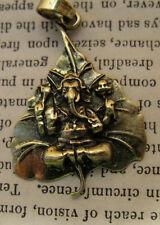 Gold Brass Ganesh Pendant Elephant God Shiva Buddhism Vintage Hindu Antique