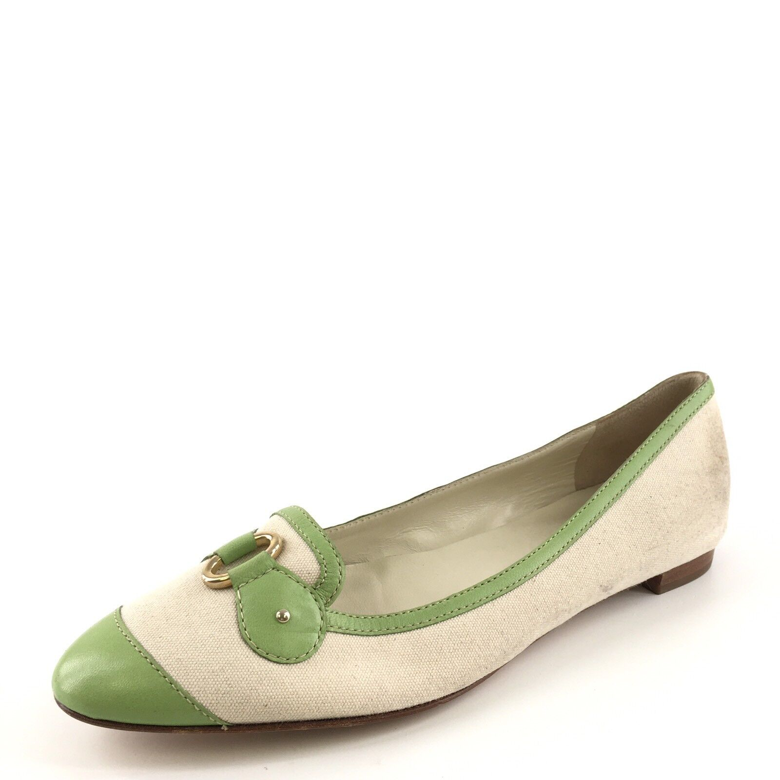 Bruno Magli Green Beige Canvas Pointy For Flats Women's Size 35 M