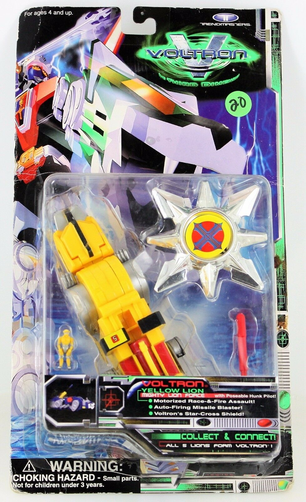 Voltron Third 3rd Dimension Yellow Lion Hunk Pilot Mighty Lion Trendmasters 1998