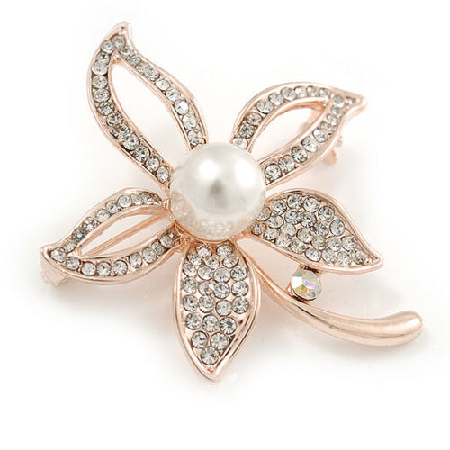 Rose Gold Clear Crystals, White Glass Pearl Flower Brooch - 46mm Tall