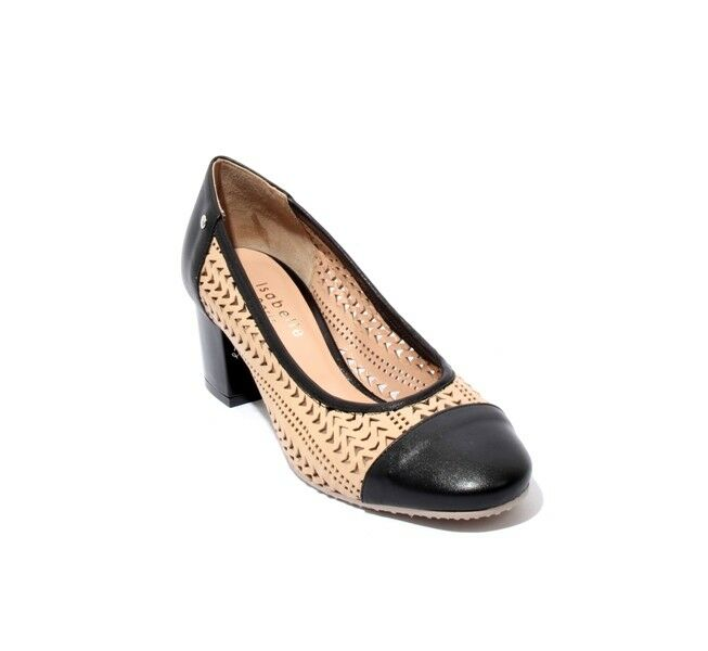 Isabelle 173r Beige Black Perforated Leather Heel Round Toe Pumps 37   US 7