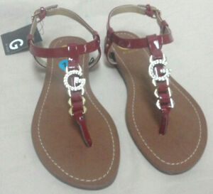 b6c6822488 Guess Womens Flip Flop Sandals - Ankle Strap & Rhinestone Logo - 10M ...