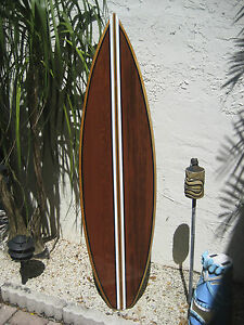 Image is loading Tropical-Decorative-Wooden-Surfboard-Wall-Art-for-a- & Tropical Decorative Wooden Surfboard Wall Art for a Coastal Beach ...
