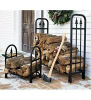 Decorative Firewood Log Rack Storage Wood Stack Holder Fire Place Chainsaw