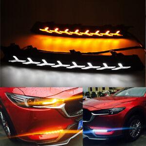 DRL Car LED Daytime Running Light W/ Dynamic Streamer Turn Lamp for Mazda CX-5