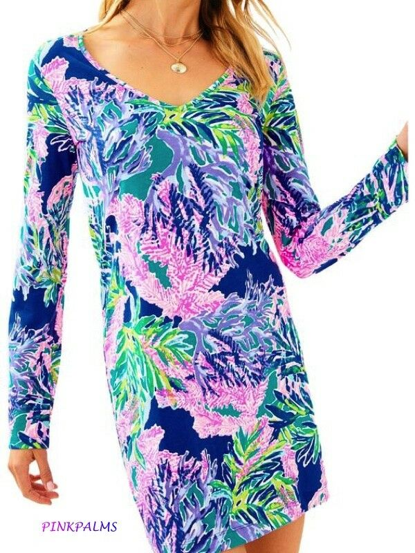 NWT Lilly Pulitzer Beacon Long Sleeve T-Shirt Dress Multi Fan Club Reduced XS