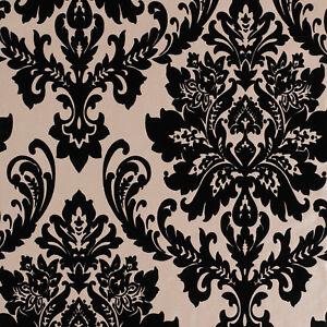 Exclusive havana velvet flock black gold damask wallpaper h66009 ebay - Cream flock wallpaper ...