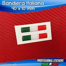 2 Adesivi Resinati Stickers 3D Flag Bandiera ITALIA 4 x 1 cm