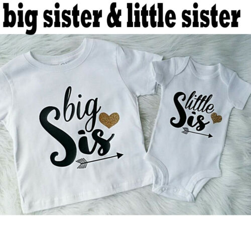 Baby Girls Romper Bodysuit Outfit Big Little Sister Matching Tops Kids T-shirt