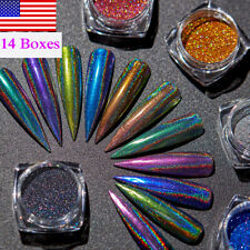 14Boxes Holographic Nail Art Powder Dust Chrome Pigment Laser Glitter Decoration