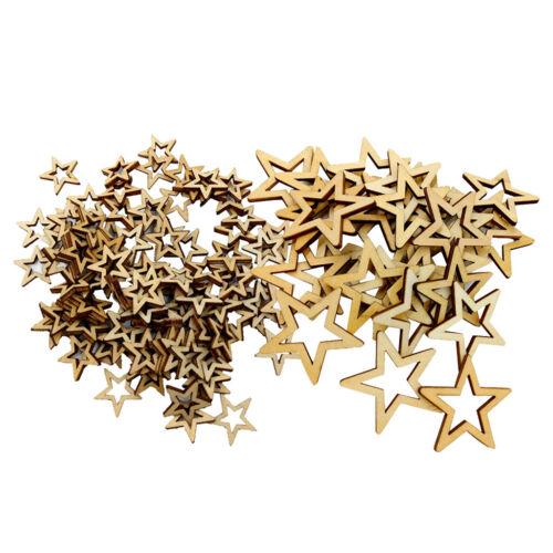 130x gemischte STERN Holz Ornamente Holz Verzierung Handwerk für Dekore