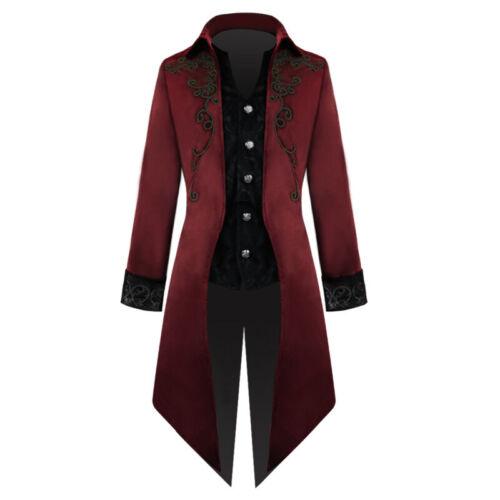 Men/'s Retro Steampunk Vintage Costume Gothic Victorian Jacket  Swallow-tail Coat