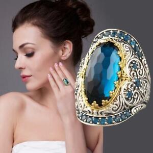 Frauen-Dame-Weinlese-Luxurious-Schnitzen-Blauer-Saphir-Zirkon-Schmuck-Ring