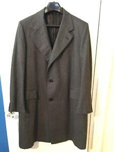 Vintage-Lewis-amp-Thos-Saltz-Washington-Overcoat-46R-Gray-Herringbone-Mens