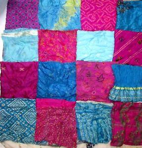 LOT-PURE-SILK-Antique-Vintage-Sari-Fabrics-REMNANT-20-pcs-5-inch-SQUARES-ABDBW