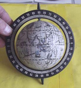 ANCIEN-GLOBE-papier-mache-Diametre-8cm-monte-sur-axe-plastique-vintage