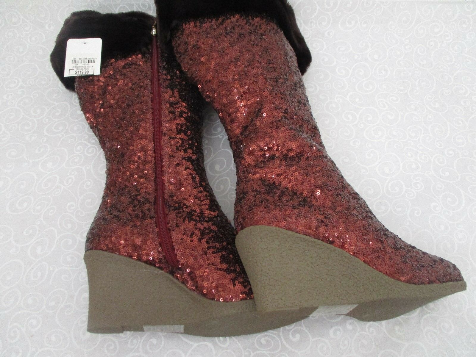 JOAN BOYCE COOPER/BRONZE WEDGE FULLY SEQUIN FAUX FUR WEDGE COOPER/BRONZE Stiefel SIZE 7 1/2 M - NEW d43505