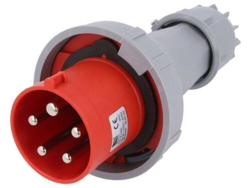 Fuente de CA PB.1050 conector 3-fase enchufe macho para cable 63A 400VAC Pawbol