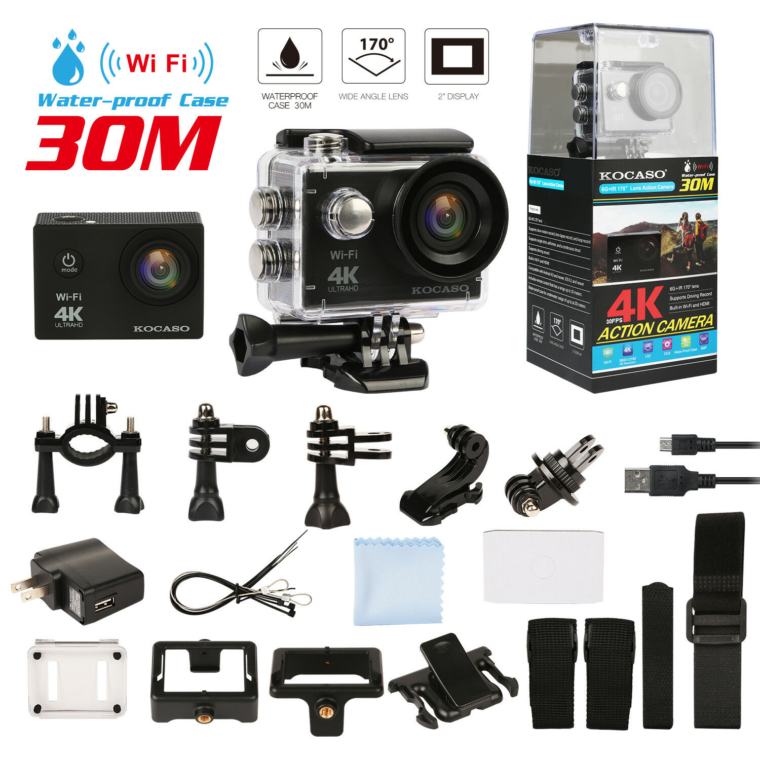 4K Ultra HD DV 1080p Sports Action Camera Waterproof + Full Accessory Bundle Featured