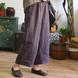 Comfort-Women-039-s-Summer-Cotton-Linen-Flax-Loose-Ninth-Pants-Casual-Trousers-S-5XL