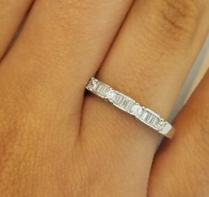 Baguette Wedding Band.Details About 14k White Gold 0 50 Ct Diamond Wedding Band Anniversary Ring Baguette Stackable