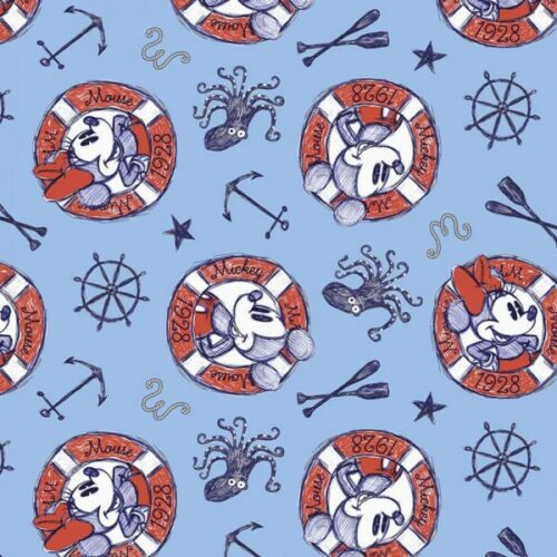 100/% Cotton Patchwork Fabric Springs Creative Disney Mickey Minnie Sailing Buoys