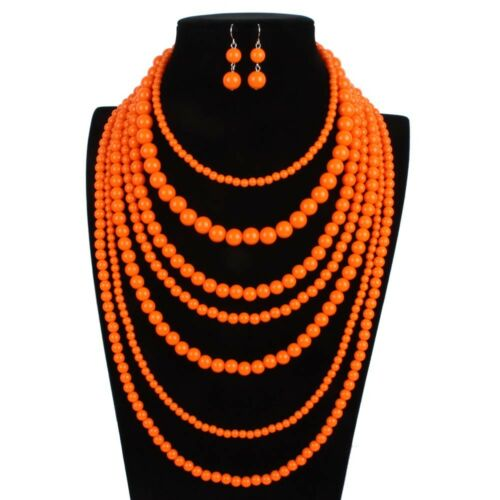 MULTI-STRAND TIERED  VARIOUS SIZED ORANGE BEAD NECKLACE /& EARRINGS SET