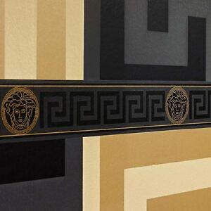 Versace-Cle-Grecque-Bordures-Papier-Peint-Noir-935224-Neuf-Createur