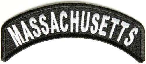 "Massachusetts Rocker Iron On Patch 4/"" x 1.75/"" Free Ship Biker Veteran P1448"