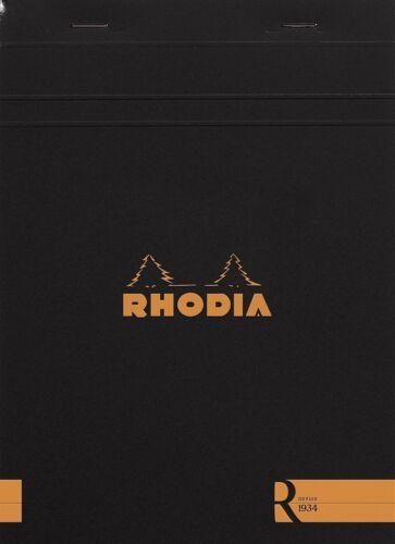 6 x 8.25 Blank Rhodia Staplebound 70 Sheets Black R Premium Notepad