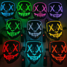 3Modes Halloween Glow Mask LED Light Up Costume Purge Party Masks Cosplay LOT