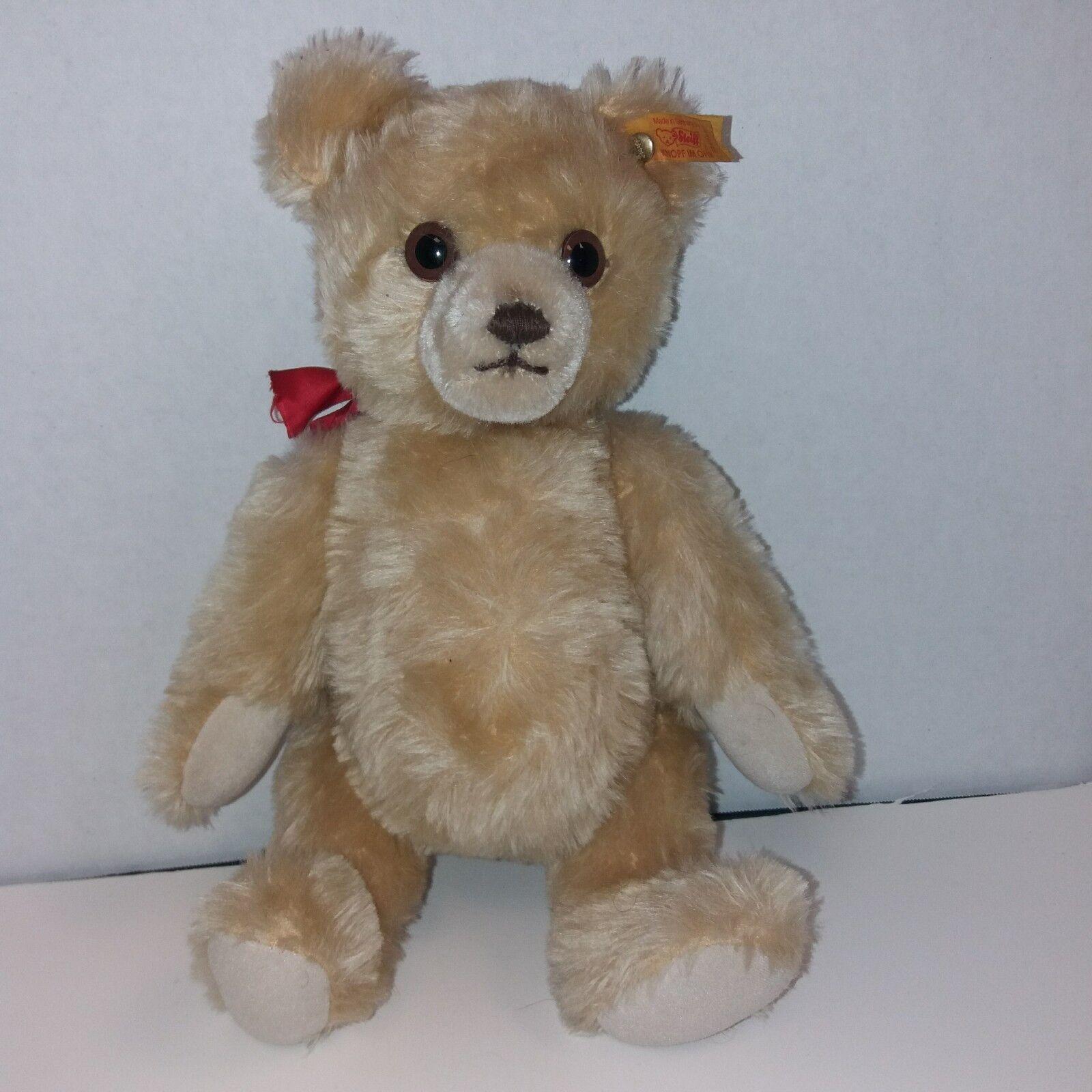 Vintage Steiff Jointed Growler Teddy Bear Blonde 011757 Button & Ribbon 12