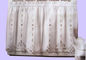 battenburg lace cotton kitchen curtain ivory caf tiers valances
