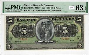 Mexico 1906-14 5 Pesos PMG Certified Banknote Choice UNC 63 EPQ S298c ABNC