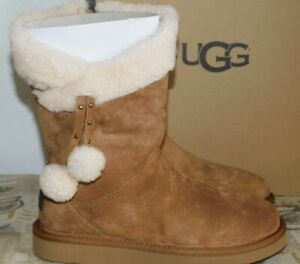 6c0c295a27b Details about NEW WOMENS SZ 5 CHESTNUT UGG PLUMDALE CUFF SHORT SUEDE  SHEEPSKIN BOOTS 1102933