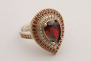 Turkish-Jewelry-Small-Drop-Cut-Red-Ruby-Topaz-925-Sterling-Silver-Ring-Size-All
