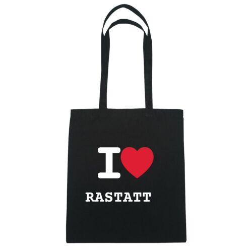 I love RASTATT Jutebeutel Tasche Beutel Hipster Bag Farbe schwarz